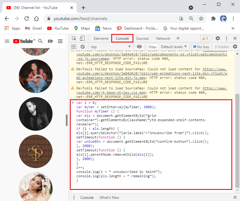 Copy-paste the given code in the console tab