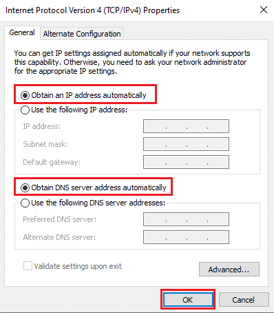 Enable the options titled Obtain an IP address automatically and Obtain D