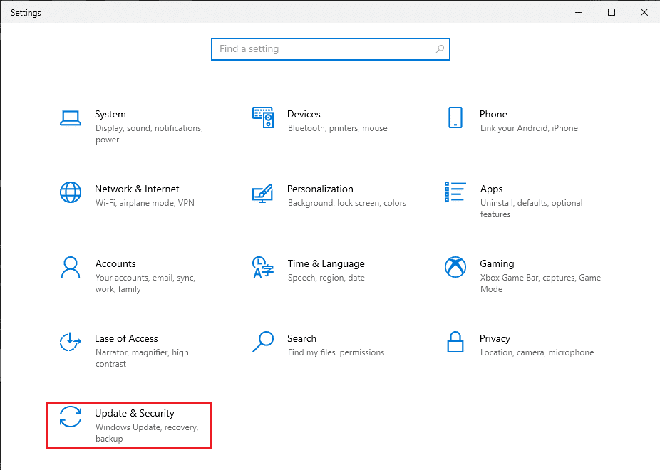 Go to the Update and Security section