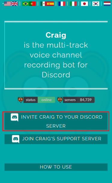 Invite Craig to your Discord server button