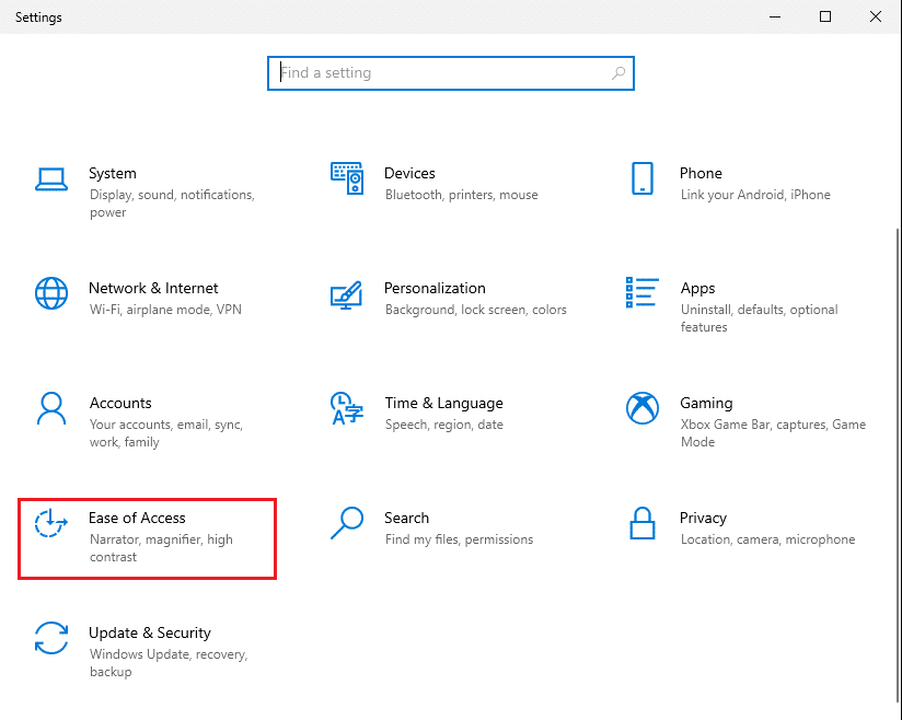 Launch Settings and navigate to the Ease of Access   Fix keyboard Input lag in Windows 10
