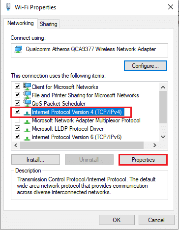 Locate Internet Protocol Version 4 (TCP/IPv4) from the given list. Click on Properties