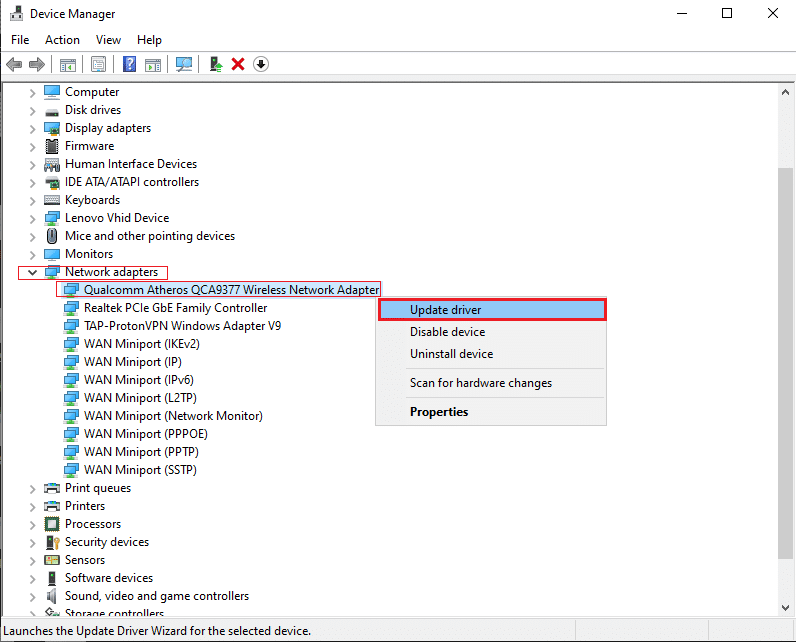 Make a right-click on your Network driver and click on Update driver
