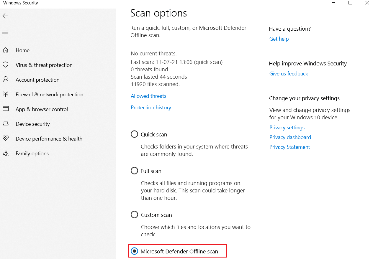 Windows Defender Offline Scan under Virus and threat protection Scan Options Fix Command Prompt Appears then Disappears on Windows 10