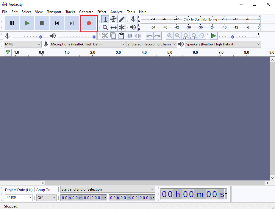 Navigate to the Audacity window and click on the Red dot icon