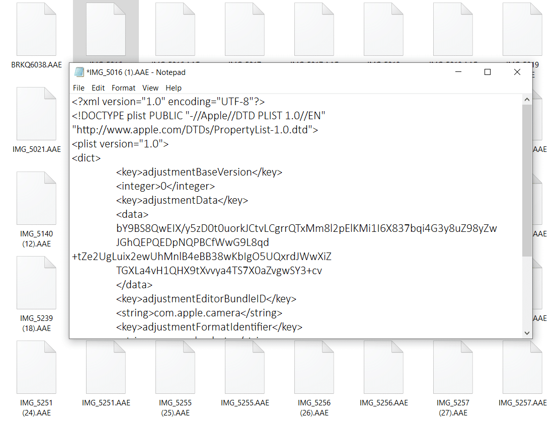 Open .AAE files with Notepad