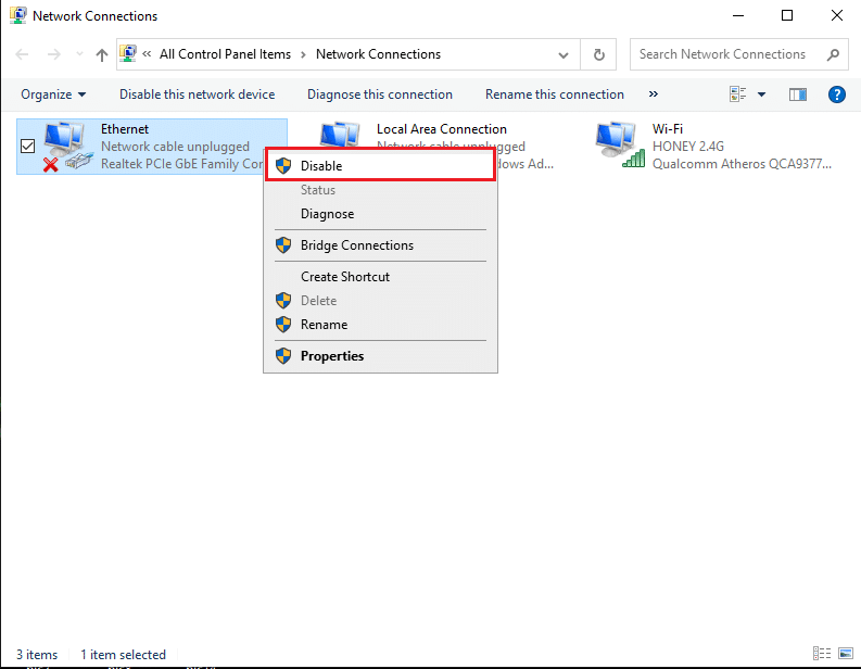 Right-click on Ethernet and select Disable | Fix Media Disconnected Error Message on Windows 10