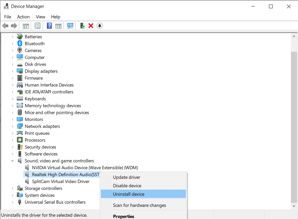 Right-click on High Definition Audio device and select Uninstall device   Fix HDMI No Sound in Windows 10 When Connected to TV