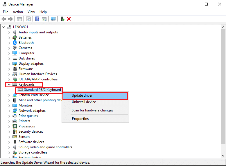 Right-click on your keyboard device and select Update Driver