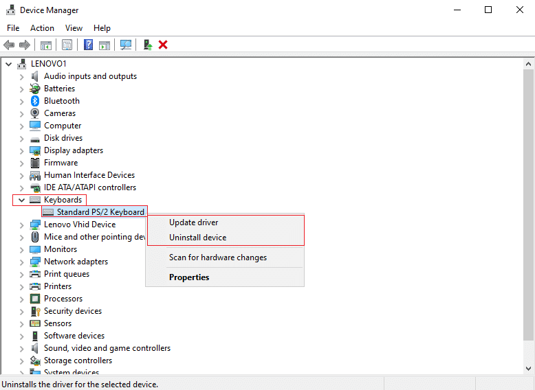 Right-click on your keyboard device and select Update driver or Uninstall device   Fix keyboard Input lag in Windows 10