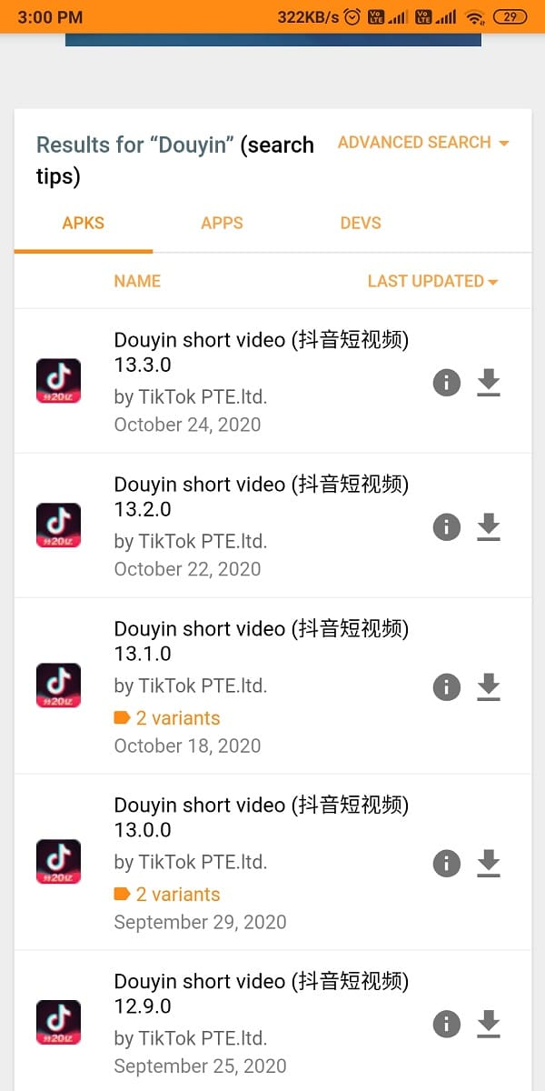 Scroll down and look for the latest Douyin APK file.