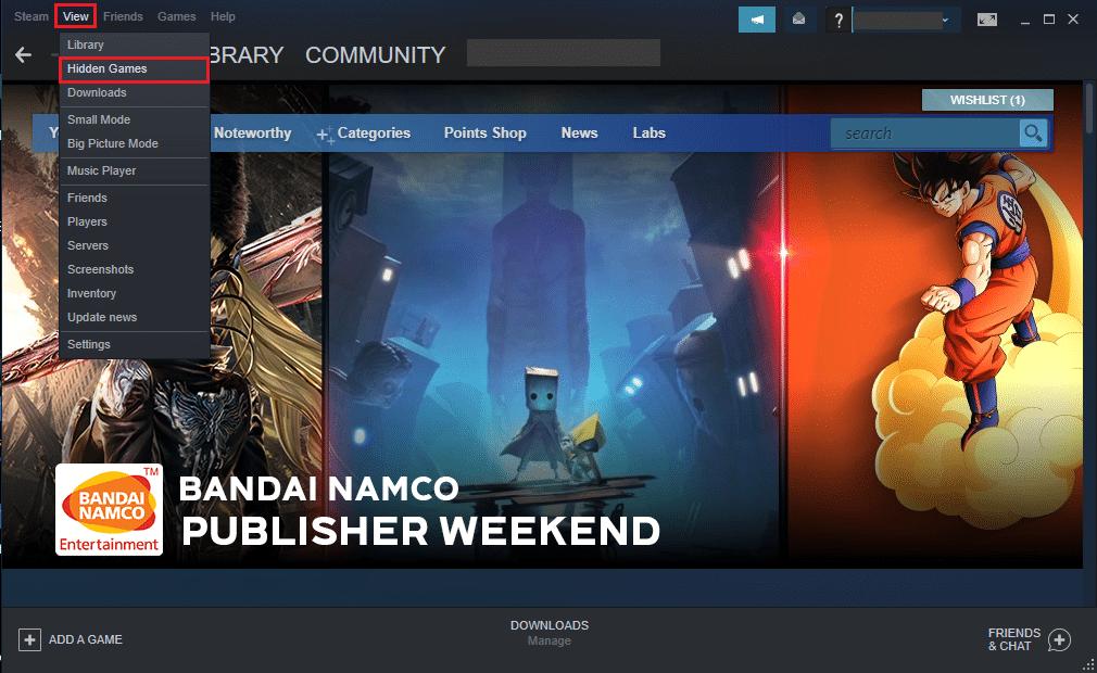 Select Hidden games from the drop-down menu