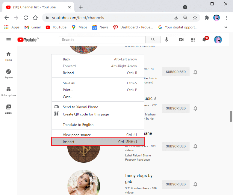 Select Inspect (Q) option | How to Mass Unsubscribe YouTube Channels at Once