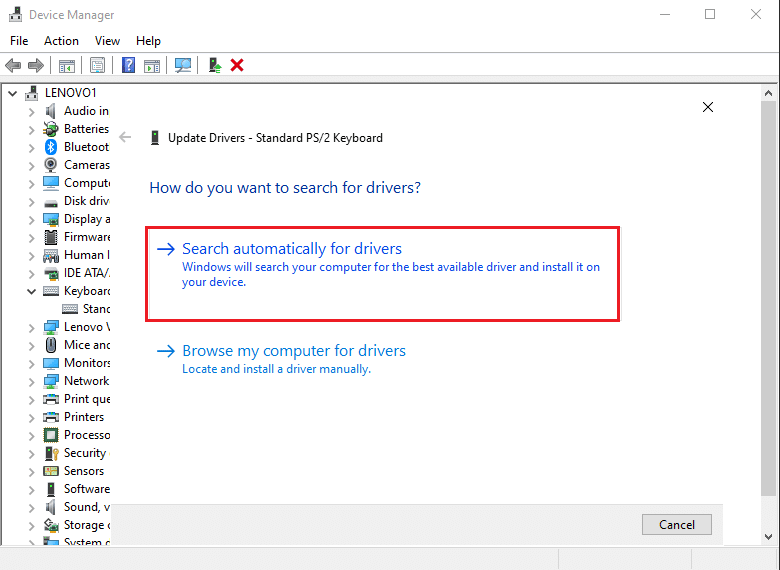 Select Search automatically for drivers   Fix keyboard Input lag in Windows 10