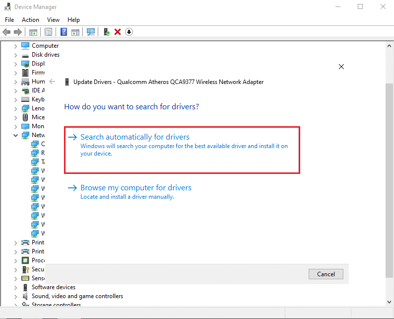 Select Search automatically for drivers