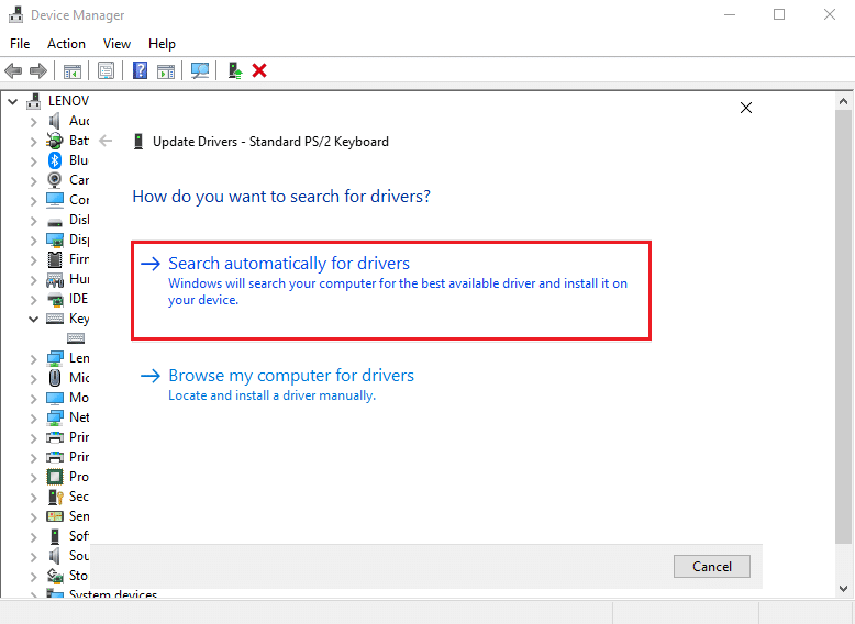 Select Search automatically for drivers in the new window that pops up