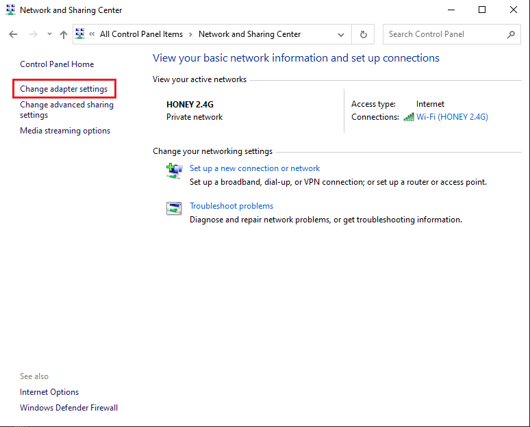 Select the Change adapter settings link from the panel on the left