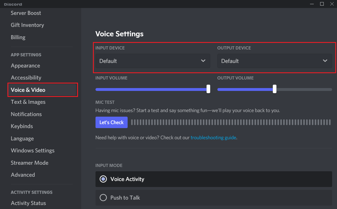 Set Discord Input and Output Settings to Default