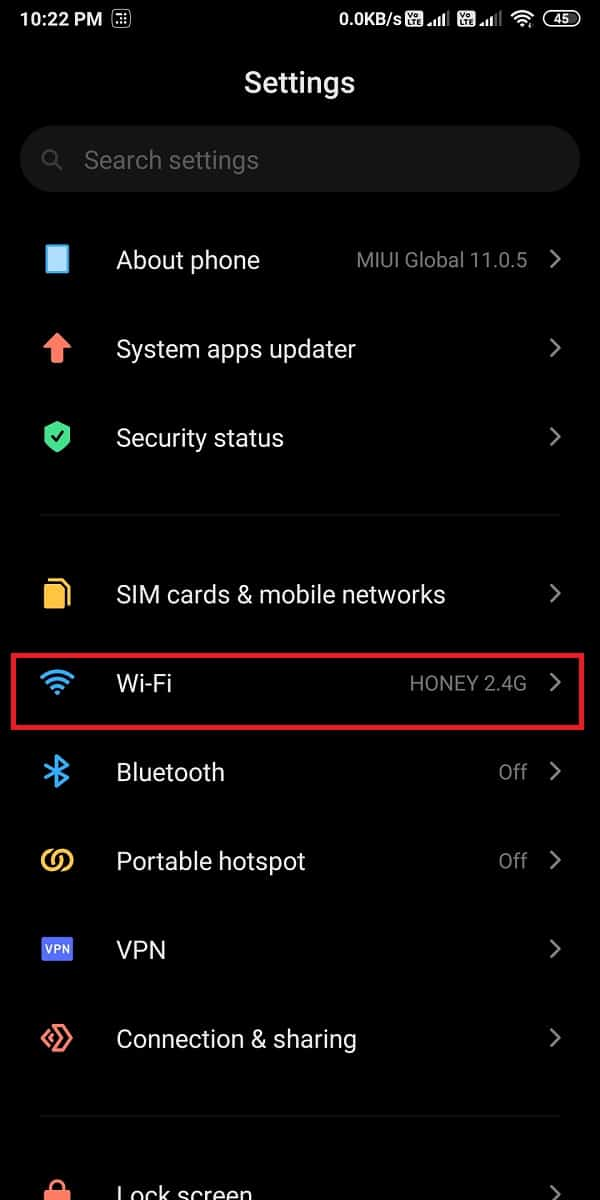 Tap on Wi-Fi or Wi-Fi and network section