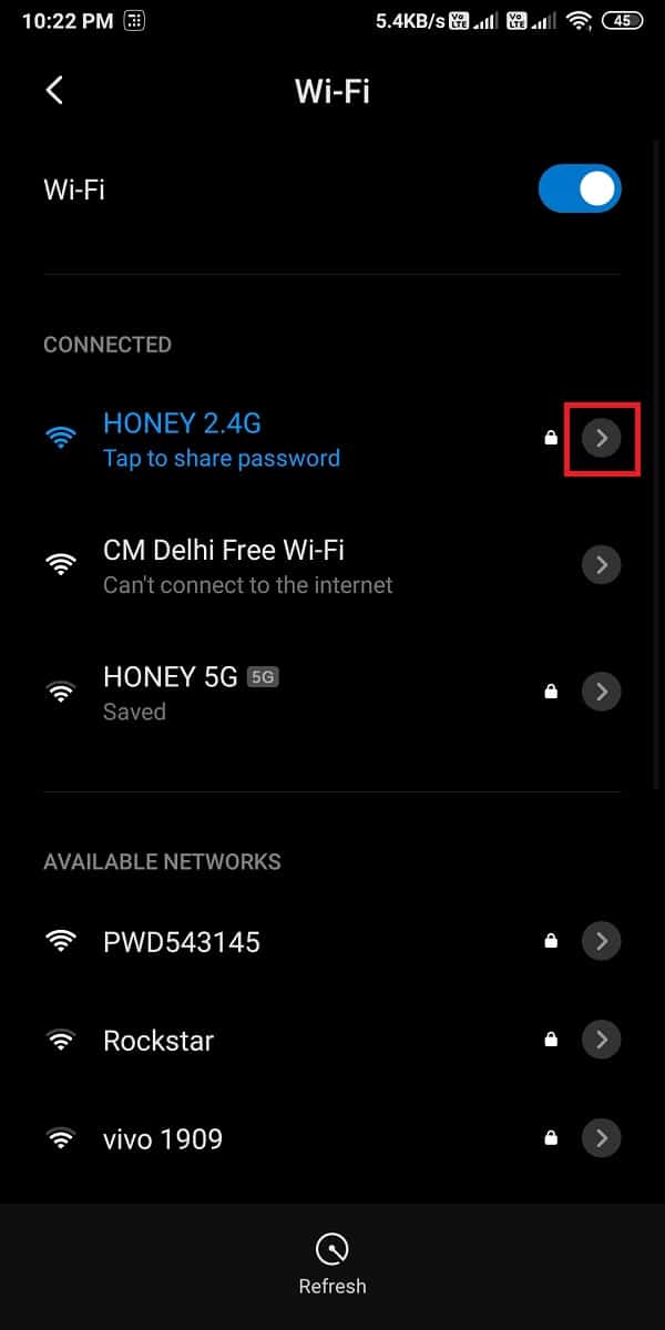 Tap on the arrow icon next to the Wi-Fi connection | Fix Internet error on PUBG mobile apps