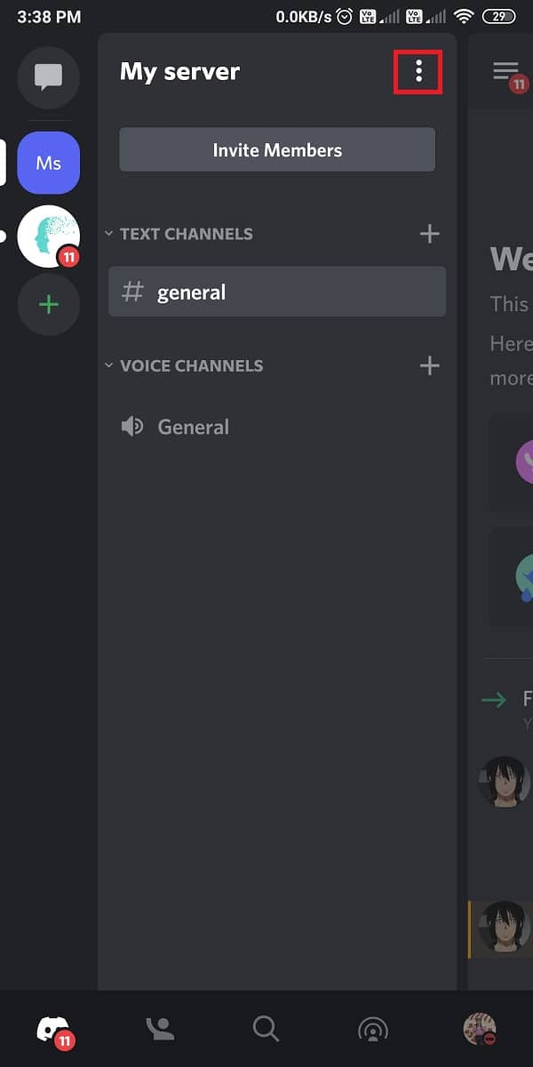 Tap on the three-dotted icon next to the server name to open the menu | How to Leave a Discord Server