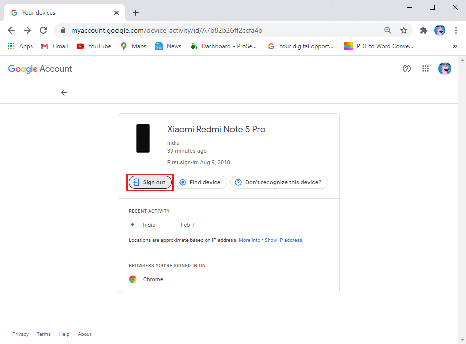 Tap the Sign out option given below the device | How to Remotely sign out of your Google account on Android phone