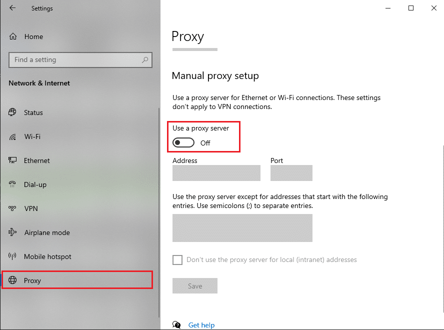 Toggle off the option stating Use a proxy server for your LAN (These settings will not apply to dial-up or VPN connections)