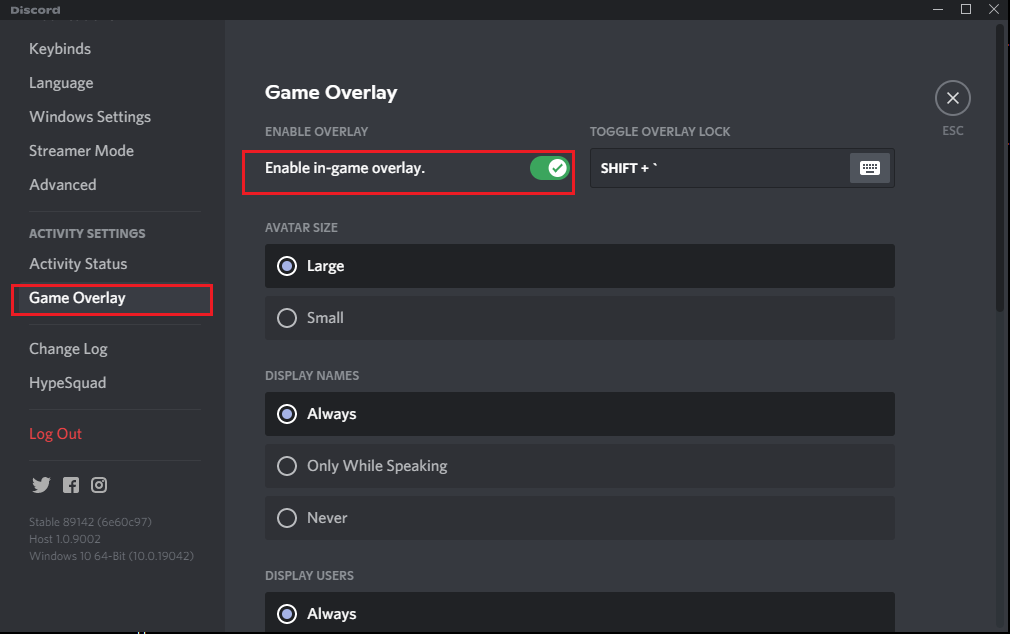 Toggle on the option titled Enable in-game overlay