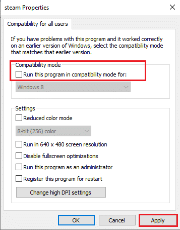 Uncheck the same option that says Run this program in compatibility mode and click on OK