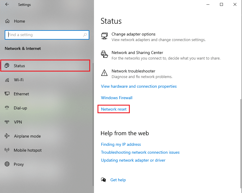 Under Status, scroll down and click on Network reset