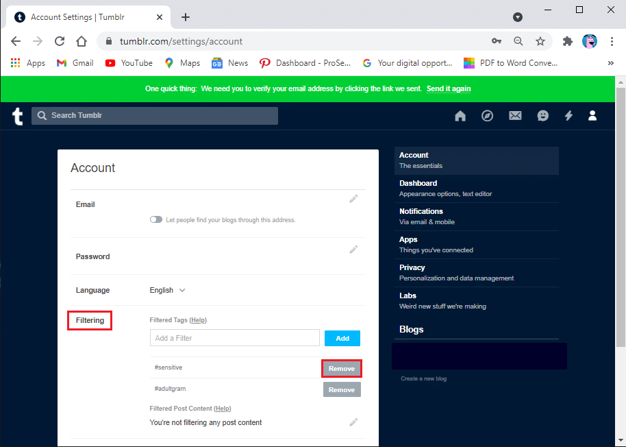 Under the filtering section, click on remove to start removing the filtering tags