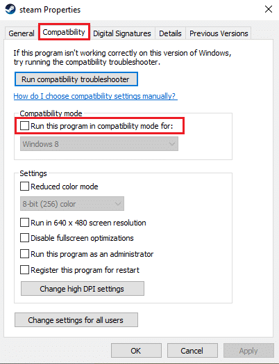 Untick the option that says Run this program in compatibility mode