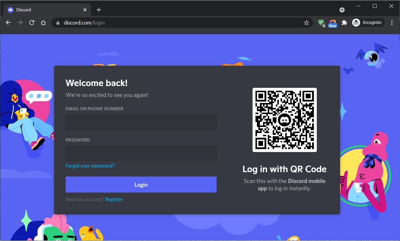 Use Incognito Window to access Discord