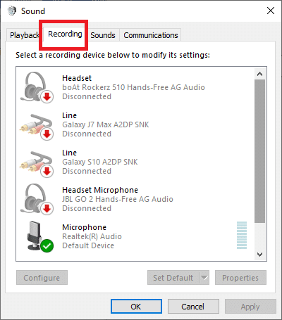 Access the Recording tab on the sound screen | Fix Discord Picking up Game Audio Error