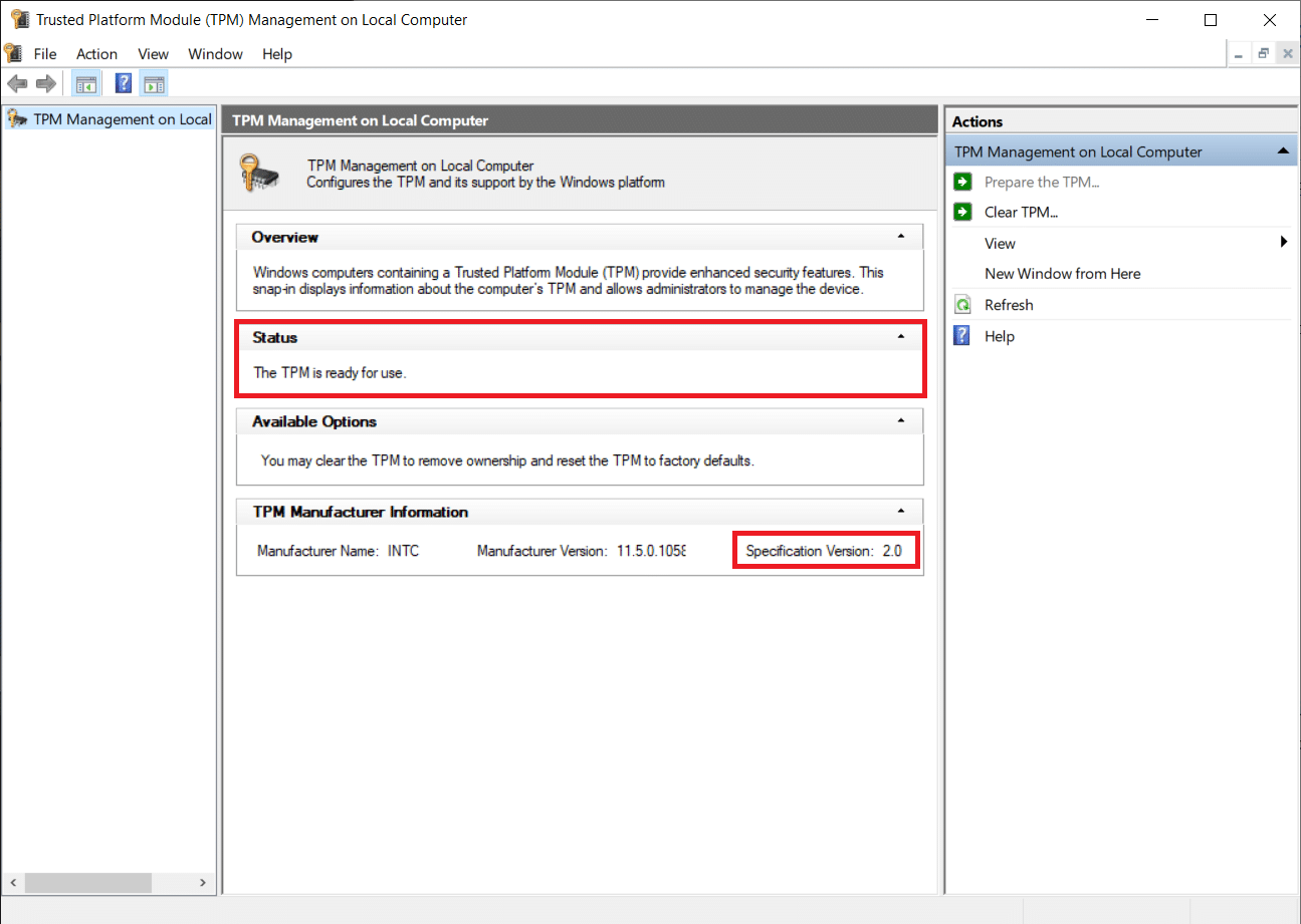 check Status and the Specification version   Fix This PC can't run Windows 11 Error