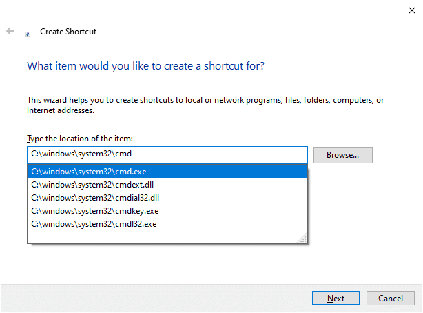 Choose C:\windows\system32\cmd.exe from the drop-down menu. Fix Command Prompt Appears then Disappears on Windows 10