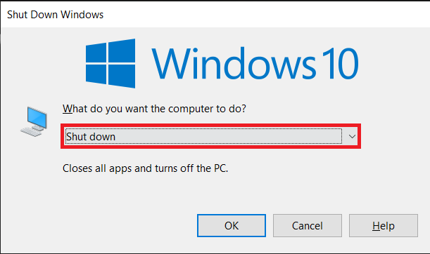 Choose Shut Down from the selection menu and click on OK
