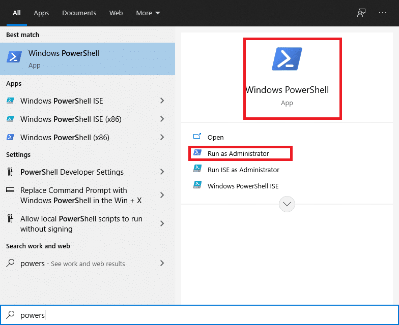 Choose Windows PowerShell and then select Run as Administrator