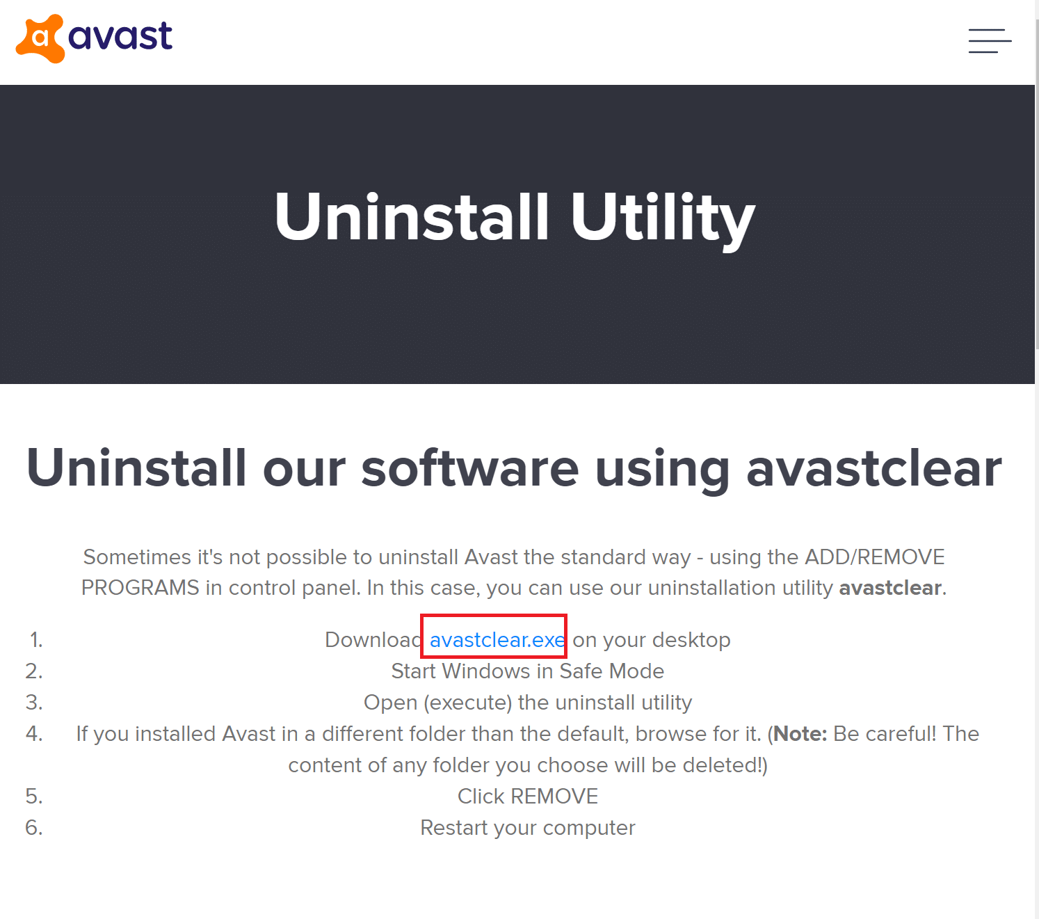 Click on Download Avastclear.exe to get the Avast Uninstall Utility