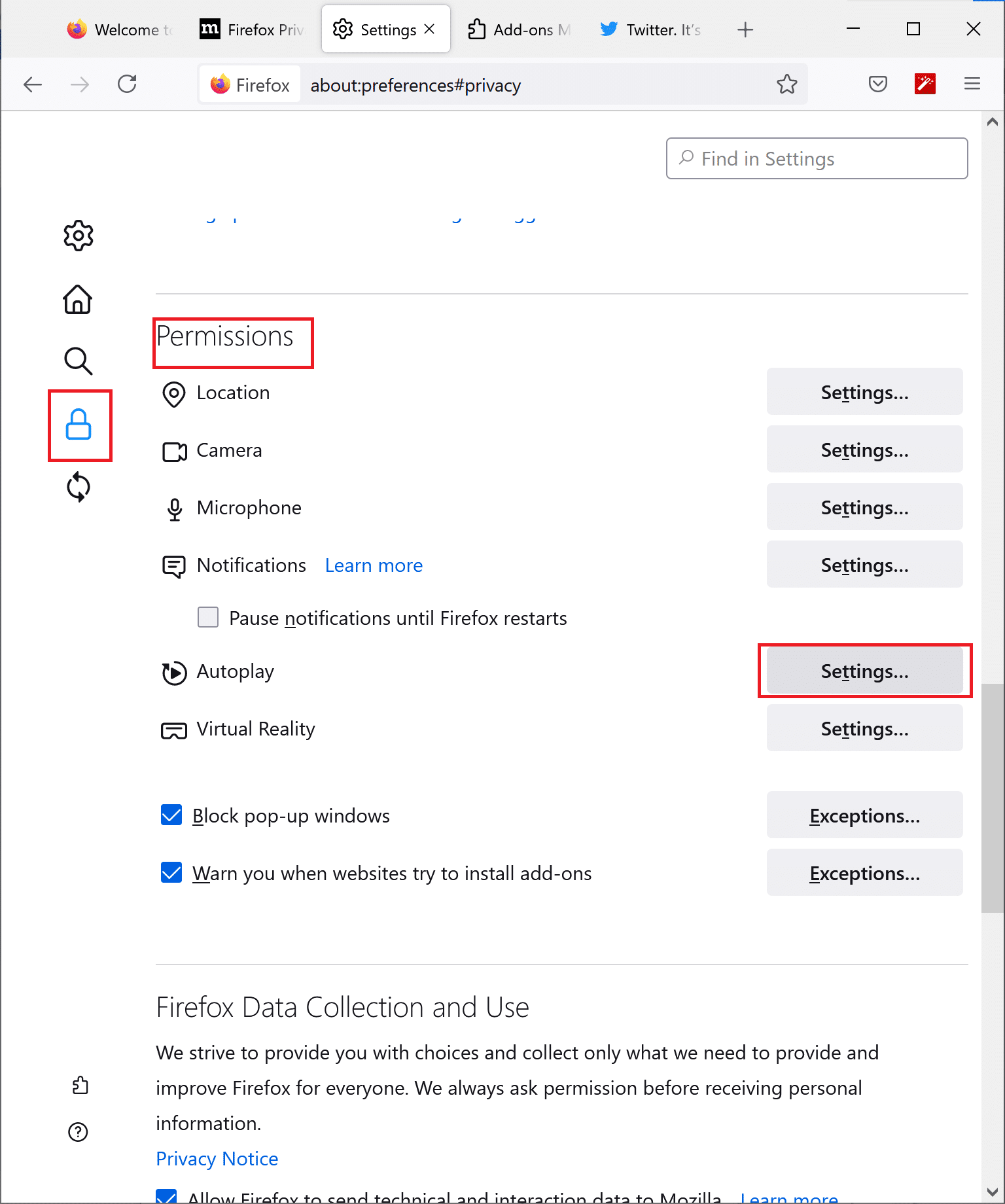 Click on Firefox autoplay settings