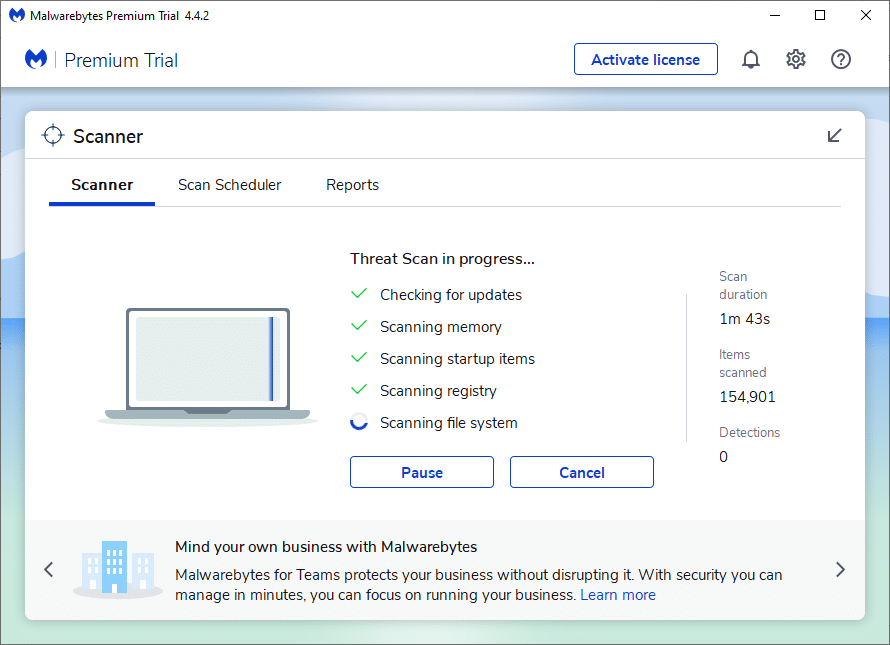 Click on Get Started button to complete the installation and select the Scan option to begin the scanning process.