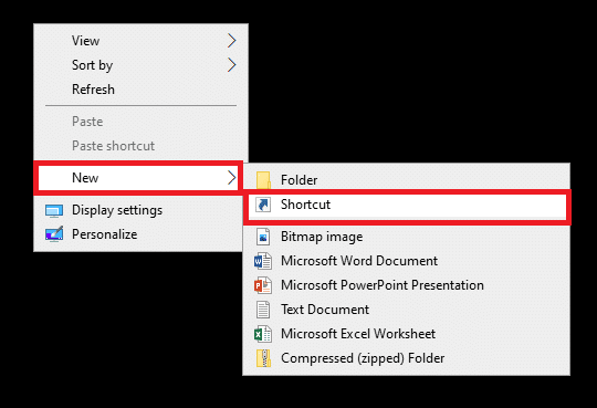 Click on New and select Shortcut Fix Command Prompt Appears then Disappears on Windows 10