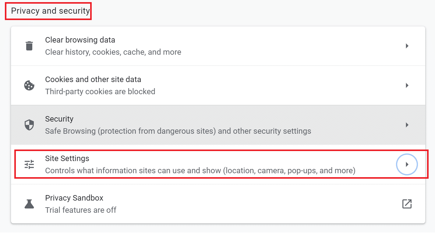 Click on Site Settings under the Privacy and Security