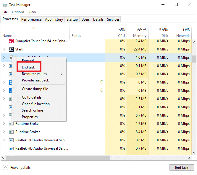 End its task by right-clicking on the SndVol.exe process and selecting End task   Fixed: Volume Mixer Not Opening