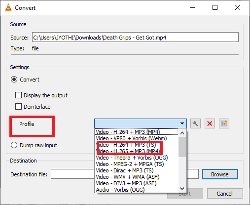 Expand the Profile option in the Settings category and pick Audio-MP3 from the list | Quick Guide to Convert MP4 to Mp3 through Windows Media Player
