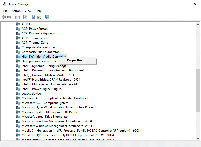 . Here, search for the audio controller (say High Definition Audio Controller) and right-click on it. Then, click on Properties.