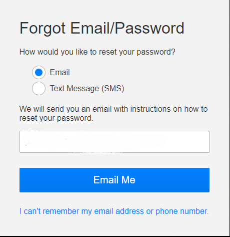 Here, select the Email option | How to Change Password on Netflix