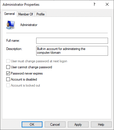 Here, uncheck the box Account is disabled as depicted below. | Enable or Disable Administrator Account in Windows 10