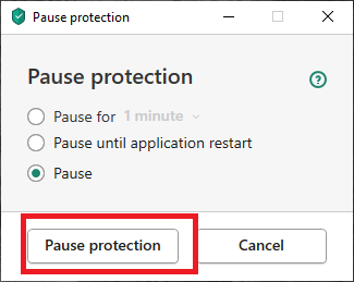 ) In the next pop-up again select Pause protection.