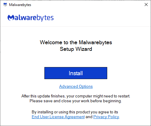 Install the application and wait for the process to be completed.